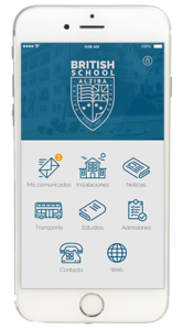 pantalla inicio de british school app en iphone